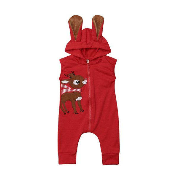 PUDCOCO Newborn Infant Boy Girl Hooded Romper Baby Sleeveless Christmas Deer Zipprt RompersOutfits Clothes