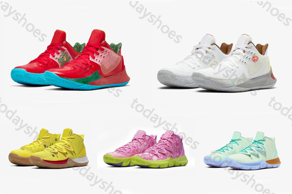 With Box Kids Kyrie 2 Low MR. Krabs Sandy Cheeks 5 Patrick Squidward Mountain Basketball Shoes Irving V Sponge Star Sport Sneakers 4-12