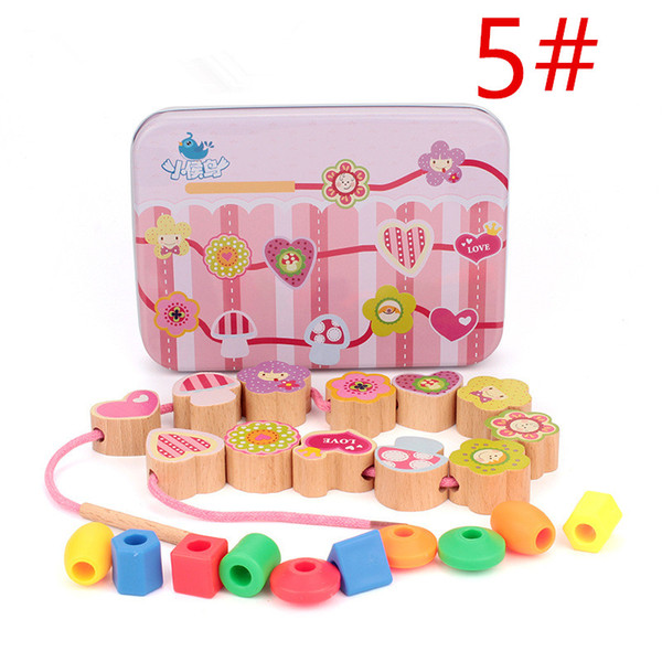 Giocattoli di legno con scatola Creature Blocks Cartoon Animals Block Stringing Threading Beads Gioco Educazione Giocattolo per regali di compleanno per bambini
