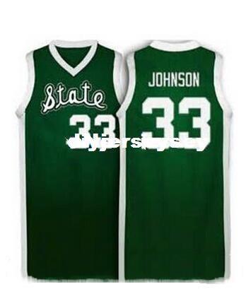 Fabrika Outle # 33 Sihirli Johnson'ın Michigan State Spartans Basketbol Formaları Nakış Dikişli Kişiselleştirilmiş Özel herhangi bir boyut ve ad J