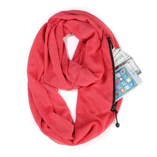Fashion Womens Scarf Cotton Polyester Solid Colored Joker Ring infinit Scarf With Zipper Pocket Admission For Party Daily Size About25*170cm