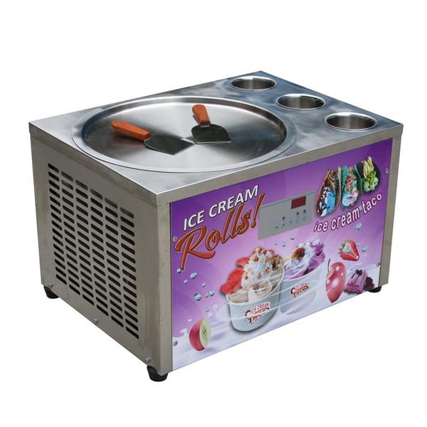 Free shipment Countertop design 45cm (18 inches) single round ice pan with 3 tanks fried ice cream machine fry ice cream roll machin