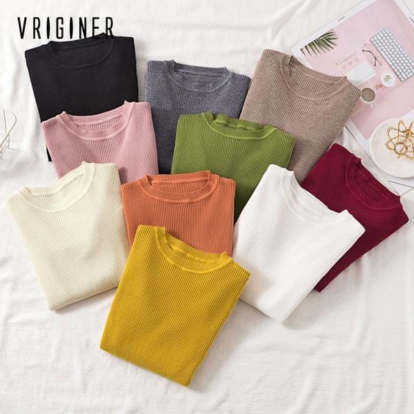 VRIGINER las mujeres del suéter suéter delgado del O-cuello suéteres de punto de Corea Jumper mujeres de la manera ropa Femme 2019