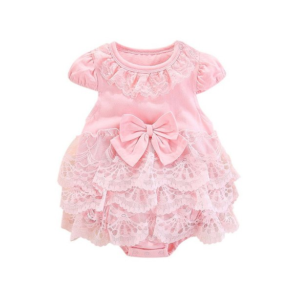 INS Toddler Baby Girl Rompers Princess Dresses Summer Cotton Fly Sleeveless Turn-down Blank Pink Ruffles Bow Collar Newborn Jumpsuits 0-18M