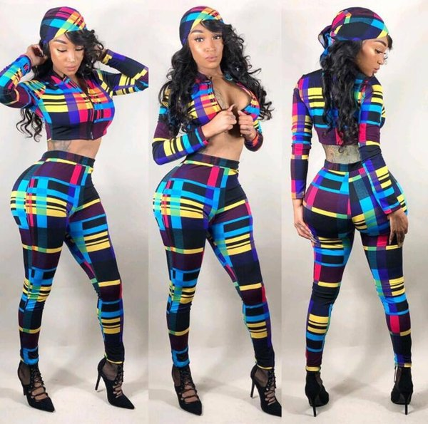 New Fashion Three Pieces Set Sexy Tracksuits Women Plaid Overalls Sexy Sports suit Slim Women Bodysuit Outfits Casual Women Clothing