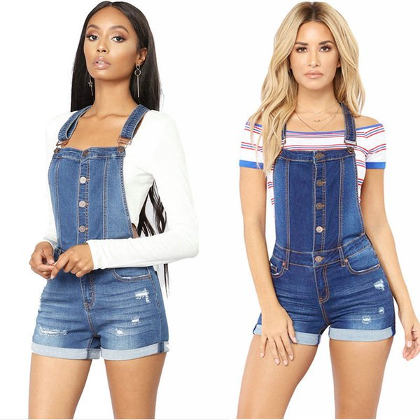 New Hole Suspender Jeans for Women Wear Hot Sale Summer Denim Short Pants Fashion Casual Young Girl Overalls