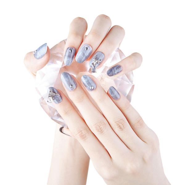 Vintage Nail Art Marble Gray Fake Nails with designs For Woman Rhinestone Bull head Street Style False Nail Full tips Fingernail