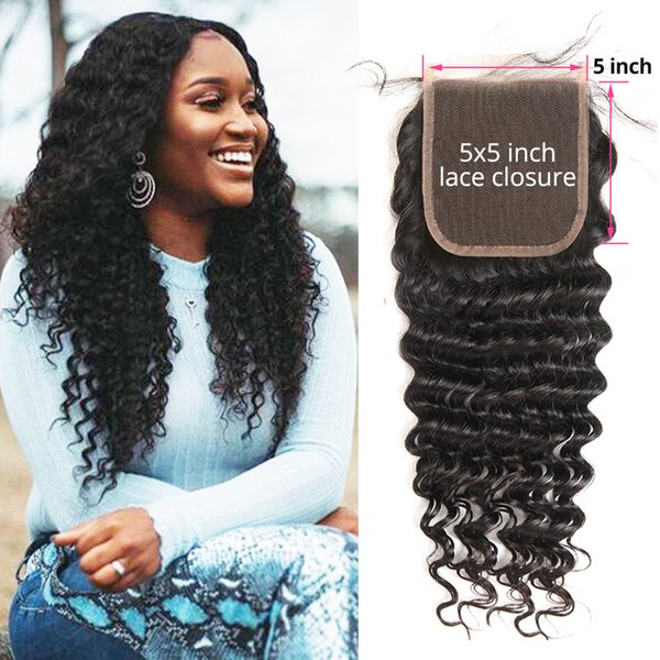 Cambodian Filipino 5x5 Deep Curly Closure Indian Remy Hair Deep Wave Bundles Free/Middle/Three Part Remy Human Hairs Weaving ISHOW LADY GAGA