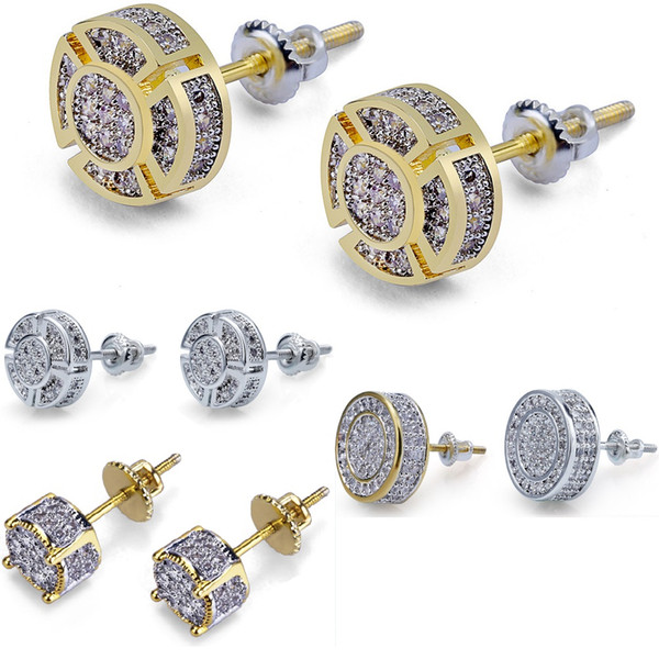 3 Styles Iced out CZ Premium Diamond Cluster Zirconia Round Screw Back Stud Earrings for Men Hip Hop Jewelry