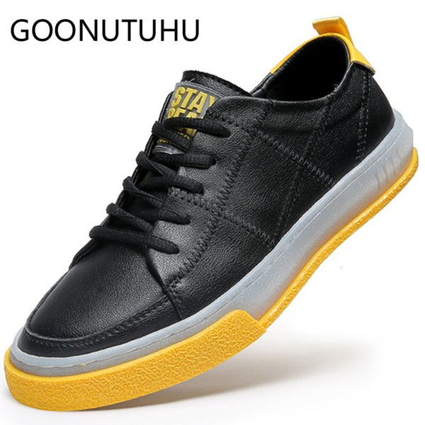 2019 new fashion men's shoes casual genuine leather male flats sneakers white black lace up shoe man nice platform shoes for men