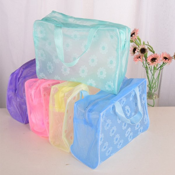 Waterproof Women Portable Clear PVC FlowerC Travel Wash Cosmetic Bag Pouch Oragnizer Holders Tools SSA300