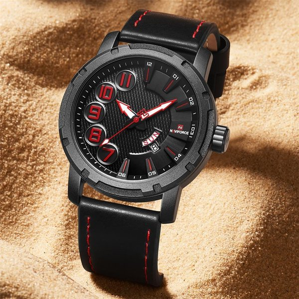 Naviforce Men Watch Fashoin Sport Men's Watch Date Week Quartz Leather Wristwatch 30m Waterproof Relogio Masculino Clock New