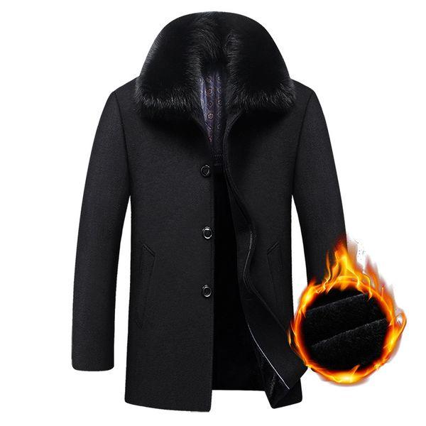 Длинное пальто зимние шерстяные мужчины флис толстый съемный большой меховой воротник шерстяное пальто осень ветровка повседневная куртка мужская одежда