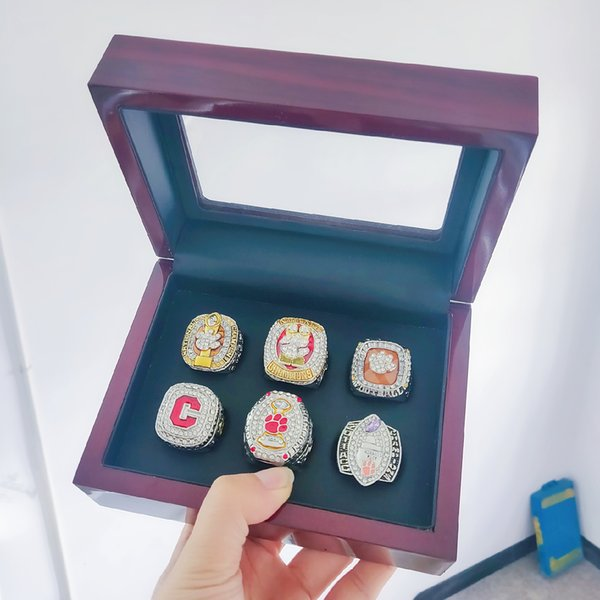 6 pcs Clemson Tigers National Championship Ring Set With Wooden Display box solid Men Fan Brithday Gift Wholesale 2019 Drop Shipping
