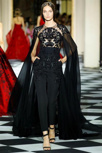 2019 New Black Prom Dresses Women Jumpsuits With Wrap Illusion Lace Beaded Cocktail Party Celebrity Dress Evening Dresses robes de soirée