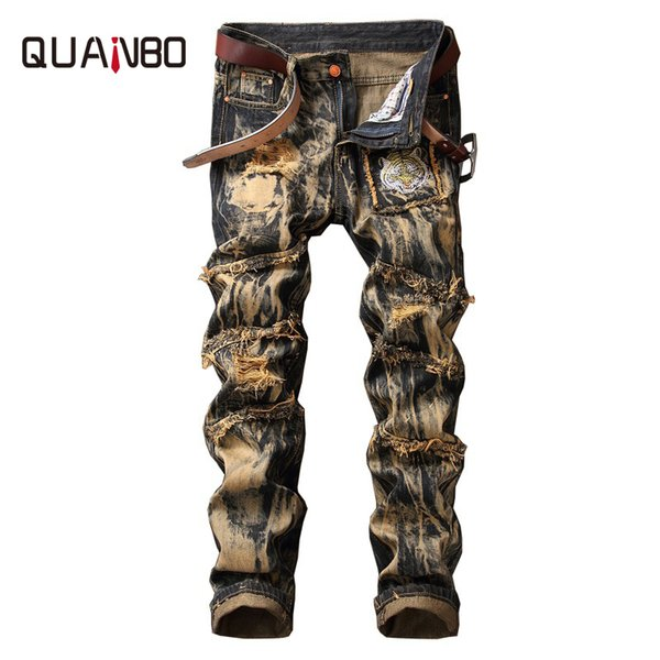 QUANBO Brand Clothing 2019 Nuevos hombres Estilo europeo y americano Vintage Ripped Jeans Fashion Animal Pattern Jeans rectos 40 42