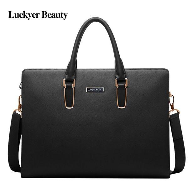 LUCKYER BEAUTY Leather Briefcase Bag Men Business Classic Office Bag Shoulder Messenger Large Capacity Portfolio #251554