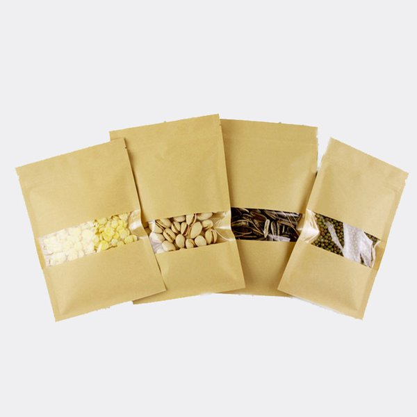 300pcs flat brown kraft paper bags for gifts/candy/tea/food/wedding with window no stand up zipper kraft bags crafts Packing bag