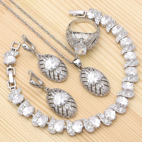 Set di gioielli da sposa in argento 925 per accessori da sposa da donna Orecchini con zirconi bianchi a forma di anello con pendente a forma di braccialetto