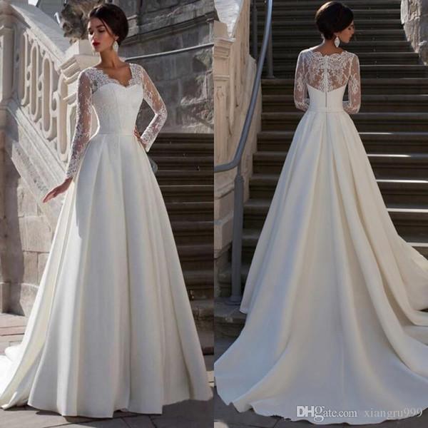 Anmutigen langen Ärmeln Spitze Brautkleider eine Linie V-Ausschnitt Applikationen elegante Brautkleider Sweep Zug Brautkleid nach Maß