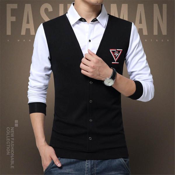 New Autumn Fashion Shirts Patch Design Men's Shirt T-shirt Fake Two Long Sleeve Shirt Turn-down Collar Cotton T Shirt for Men 5XL XZ-02