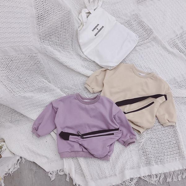 2019 frühjahr neue ankunft koreanische version baumwolle lose stil allgleiches casual hoodie mit umhängetasche cute fashion baby mädchen j190611