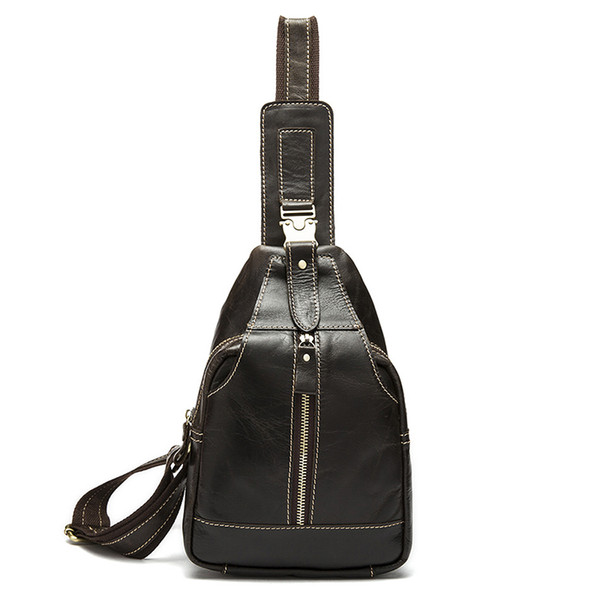 Artmi Men's Genuine Leather Pack Casual Chest Bag Retro Crossbody Bag Casual