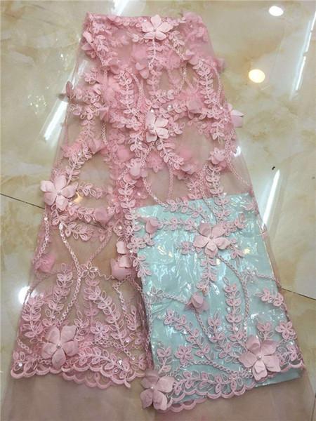 Afrikanische Spitze-Gewebe-Qualitäts-handgemachte Pailletten Spitze, Edler rosa Französisch-Spitze-Gewebe für Hochzeit, Blumen-3D Pailletten-Spitze-Gewebe