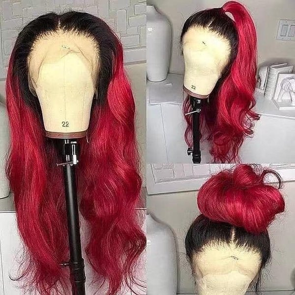 ombre Burgundy Full Lace Wigs Brazilian Virgin Human Hair Silky Straight 1b burgundy ombre Lace Front Wigs for Black Woman Free Shippiing