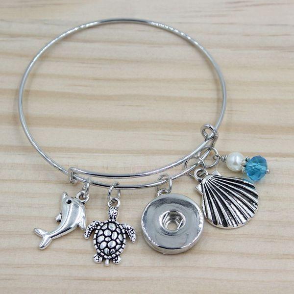 Wholesale 18mm Snap Jewelry Adjustable Expandable Bangle Ocean Bracelet Seashell Turtle Dolphin Charm Bracelets Snap Bracelets summer