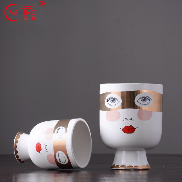 Creative Double Side Face Vases Ceramics For Flowers Home Decoration Accessories Wedding Centerpieces Dining Table Vase Filler
