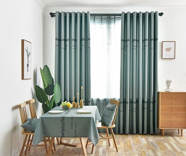 2019 Curtains For Living Dining Room Bedroom Light Blue Screens Printing  American Villages Minimalist European Style Blackout Curtain From Shuishu,  ...