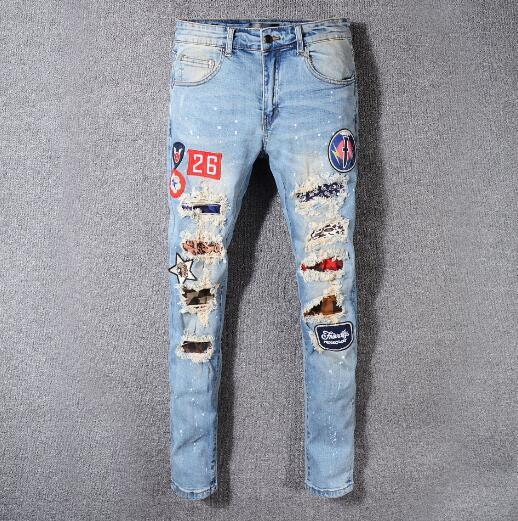 2019 Yeni Mirii Kot Erkek Sıkıntılı Ripped Biker Jeans Slim Fit Motosiklet Biker Denim Hip Hop Tasarımcı Pantolon Moda Siyah Erkek Kot