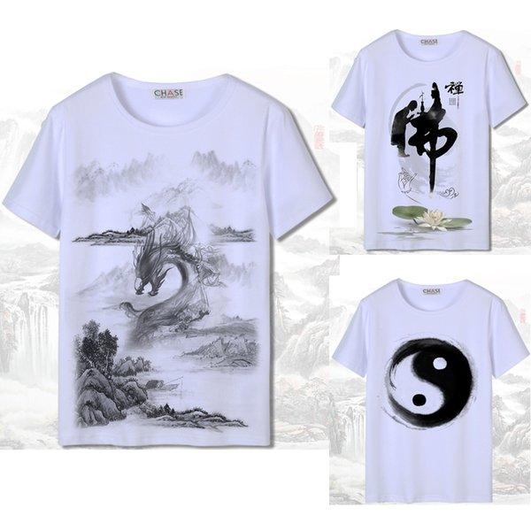 Impresión 3D de manga corta hombres estilo chino camiseta Harajuku blanco lavado a tinta pintura Dragón nacional mujer algodón japonés Tang traje