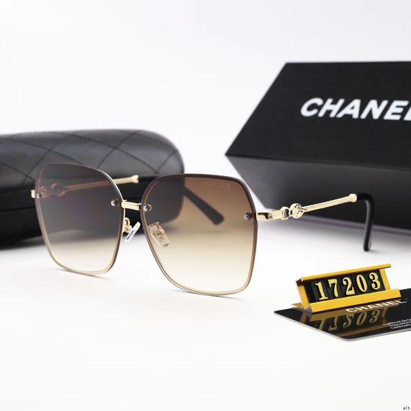 Model17203 High Quality Fashion Round Sunglasses Mens Womens Designer Brand Sun Glasses Gold Metal Black Dark Glass Lenses Better Black Case