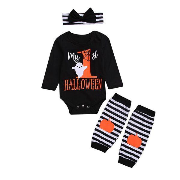 Newborn Baby Girls Outfits Pumpkin Romper+Leg Warmers+Headband 3Pcs Halloween Outfits Clothes Set