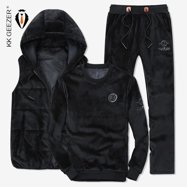 Männer Sweatshirt Anzug Herren Westen Hochwertige Freizeit Mantel Männer Winter Starke Pleuche Stoff Mode Sport (Sweatshirt + Pants + Weste)
