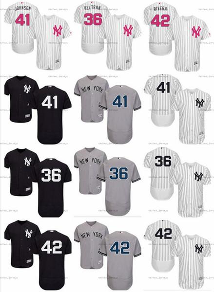 Homens personalizados Mulheres Juventude Majestoso NY Yankees Jersey # 36 Carlos Beltran 41 Randy Johnson 42 Mariano Rivera Casa branca Crianças Camisas de Beisebol