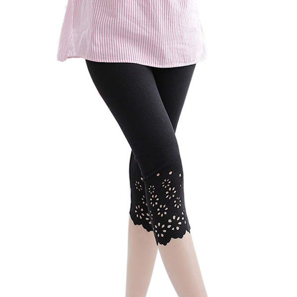 M-XXL Casual women leggings Summer Cotton Knitted Flower Solid Color Midi Leggins Work Out Girls Leggings Stretched