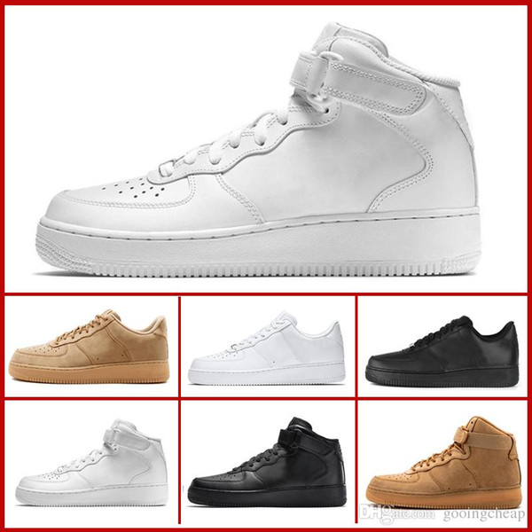 New Arrival One 1 Dunk Shoes all Black White Men Women Sports Skateboarding Ones High Low Cut Wheat Brown Trainers Sneakers 36-45 With box
