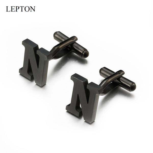 Lepton için Paslanmaz çelik Harfler N Kol Düğmeleri Mens Siyah Gümüş Renk Harfler alfabenin Kol Düğmeleri N Erkekler Gömlek Manşetleri Düğmesi