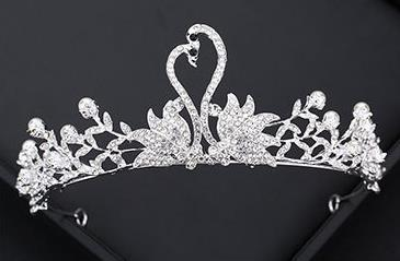 Bride Swan Hair Jewelry Pearl Water Diamond Silver White Crown Wedding Headdress Simple Crown Wedding Garment Accessories