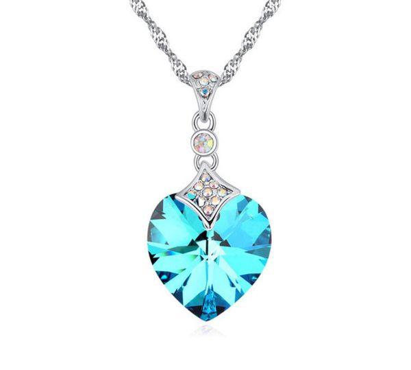 new fashion Woman jewelry Originality Ornaments Swarovski Elemental Crystal Necklace Cloud core water Korean version Peach heart Pendant