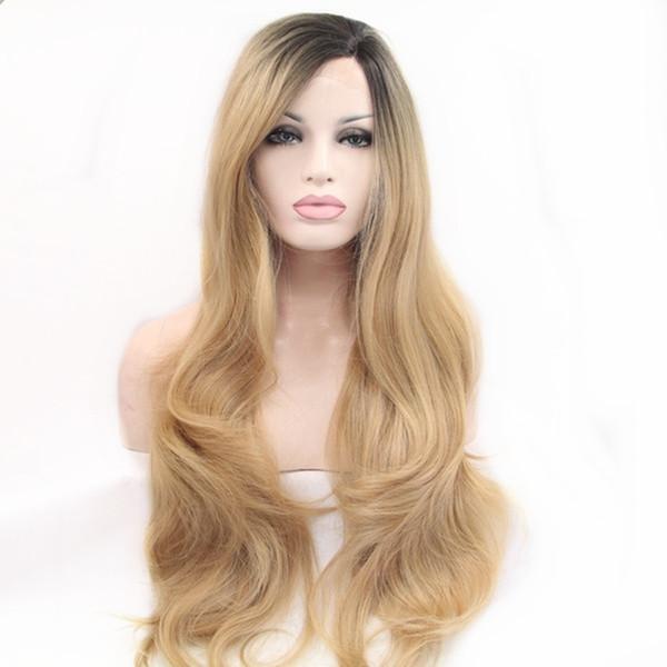 Мода 180% Плотность Темный Корень Естественная Волна Ломбер Блондинка Синтетические Парики Фронта Шнурка для Женщин Боковая Часть Glueless Термостойкие Волокна Волос