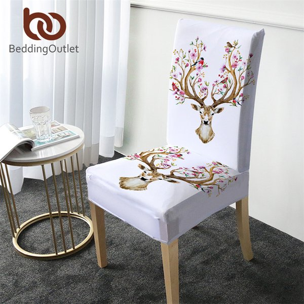 BeddingOutlet Floral Banquet Chair Cover Moose Reindeer Elk Spandex Slipcover Deer Removable Seat Cover Black White coprisedie