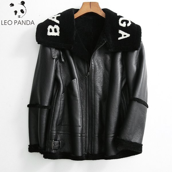 2019 winter new women lamb fur bomber real leather jacket heep kin double face hearling coat over ized genuine leather jacket y190926, Black;brown