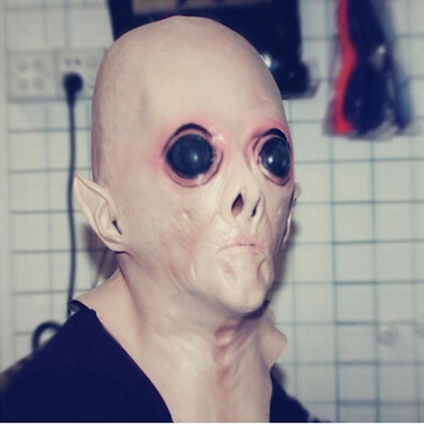 UFO Alien Collector Mask Head Latex silicone Full HEAD Adult Costume Halloween cartoon party mask H60