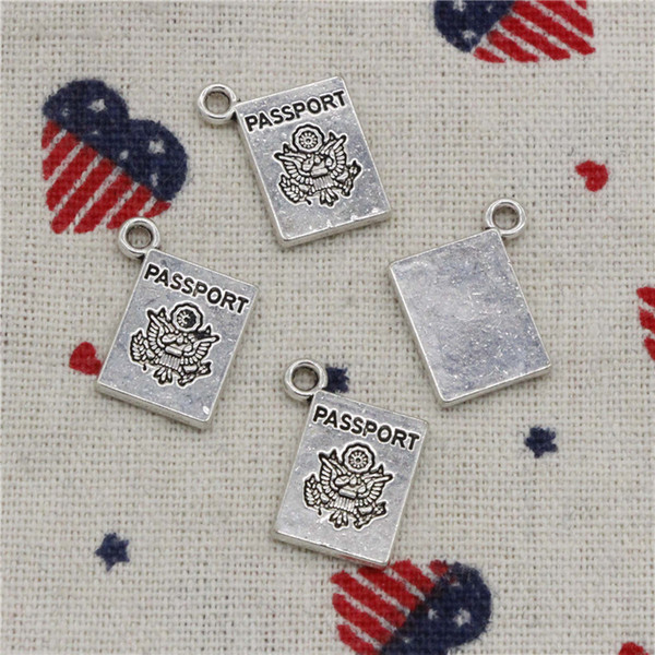 139pcs Charms book passport 18*14mm Pendant, Tibetan Silver Pendant,For DIY Necklace & Bracelets Jewelry Accessories