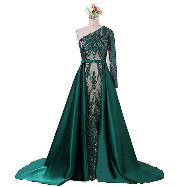 Real Photo Dark Green Elegant Evening Formal Dresses 2019 African Cocktail Party Dresses Plus Size Evening Gowns Detachable Trains