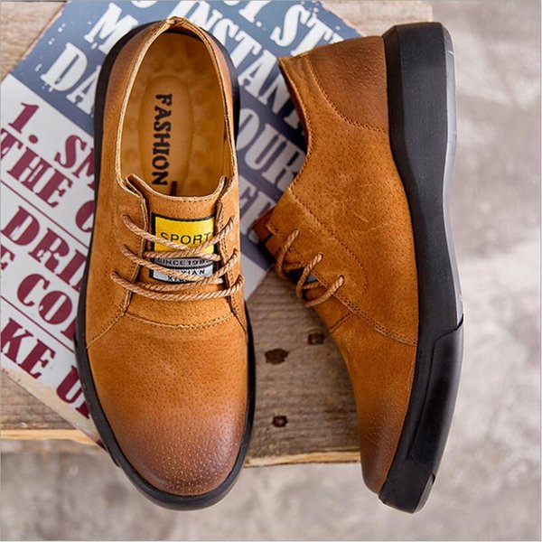CS686 Marka Erkek Deri Rahat Ayakkabılar Yeni Deri Ayakkabı erkek Yassı, Tasarım Stil Erkek Ayakkabı, moda Dantel Kadar Rahat